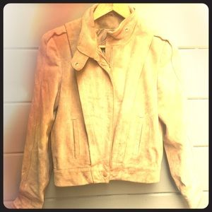 Stone/Taupe, Real Heavy Suede Motorcycle Jacket!